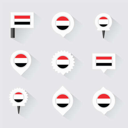 esp: yemen flag and pins for infographic, and map design
