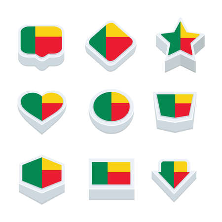 regional: benin flags icons and button set nine styles