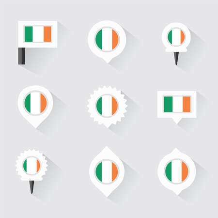 ireland flag: Ireland flag and pins for infographic, and map design