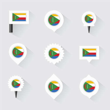 comoros: comoros flag and pins for infographic, and map design Vectores