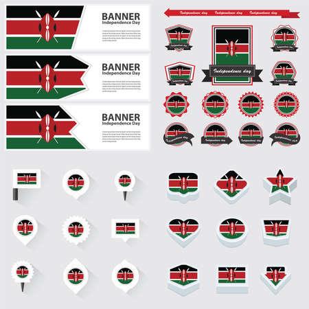 independencia: Kenya día de la independencia, infografía y Set etiqueta.
