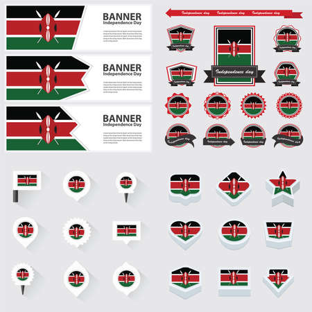 republic day: Kenya independence day, infographic, and label Set.