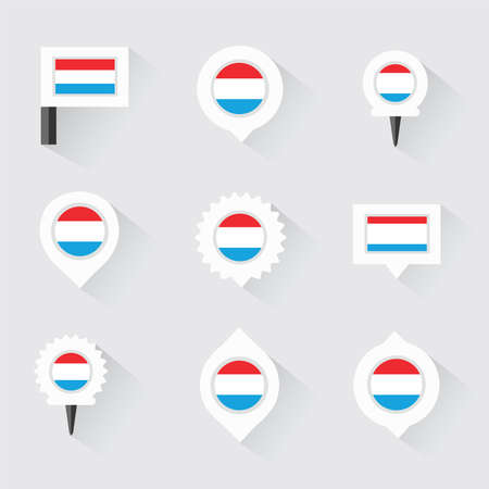 esp: luxembourg flag and pins for infographic, and map design