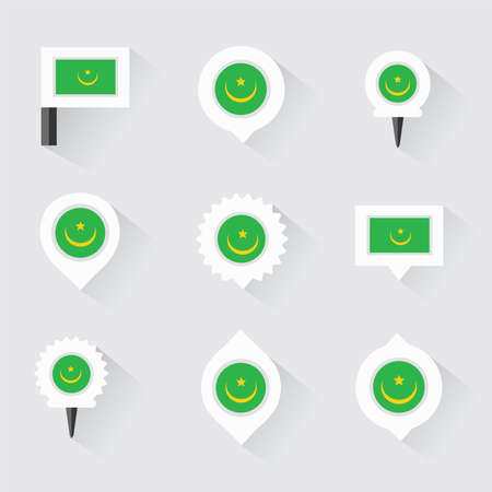 esp: mauritania flag and pins for infographic, and map design
