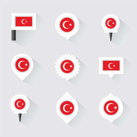 esp: turkey flag and pins for infographic, and map design