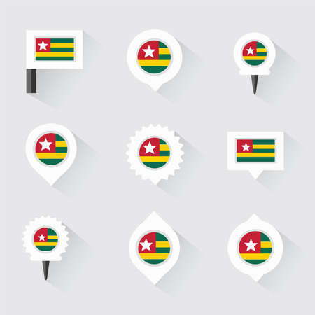 esp: togo flag and pins for infographic, and map design