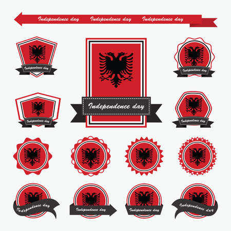 albanie: �tiquette albanie drapeaux de Jour de l'Ind�pendance de conception infographique