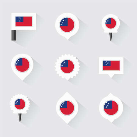 esp: samoa flag and pins for infographic, and map design Illustration