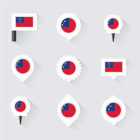 samoa: samoa flag and pins for infographic, and map design Illustration