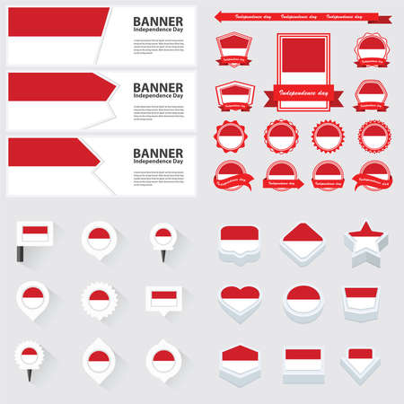 indonesia independence day, infographic, and label Set.