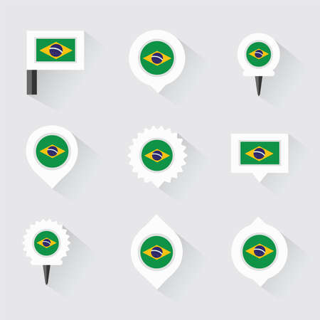esp: brazil flag and pins for infographic, and map design