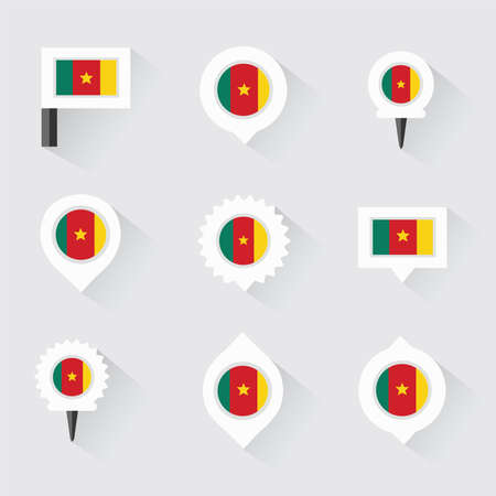 esp: cameroon flag and pins for infographic, and map design