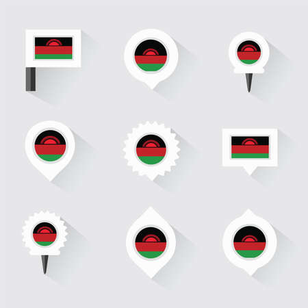 malawi flag: Malawi flag and pins for infographic, and map design Illustration