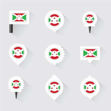 burundi: burundi flag and pins for infographic, and map design Illustration
