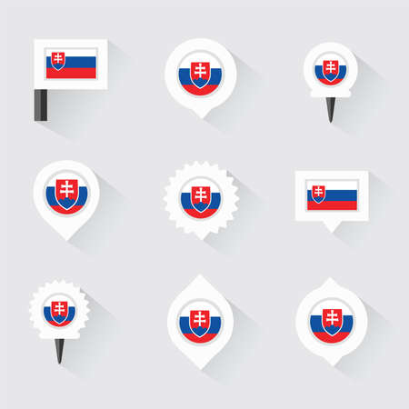 slovakia flag: Slovakia flag and pins for infographic, and map design
