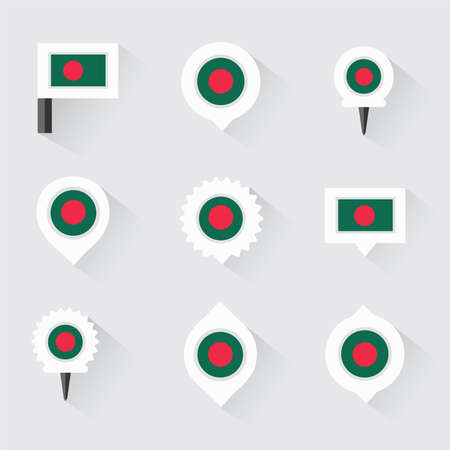 esp: bangladesh flag and pins for infographic, and map design Illustration