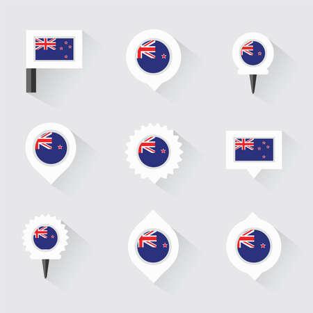 bandera de nueva zelanda: Bandera de Nueva Zelanda y pines para infograf�a y dise�o de mapas Vectores