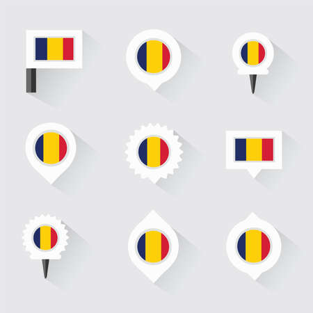 chad flag: chad flag and pins for infographic, and map design