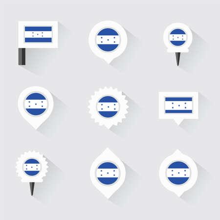 bandera honduras: bandera de Honduras y pines para infografía y diseño de mapas