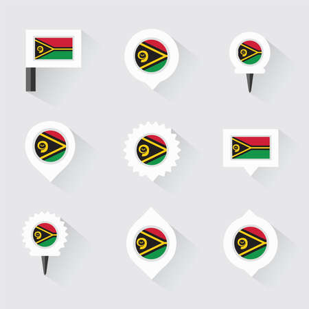 vanuatu: Vanuatu flag and pins for infographic, and map design