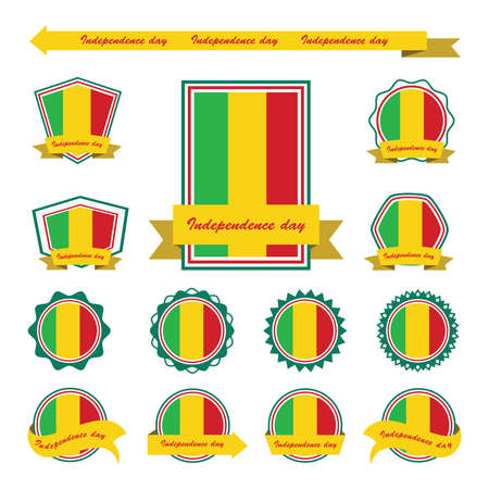mali: mali independence day flags infographic design