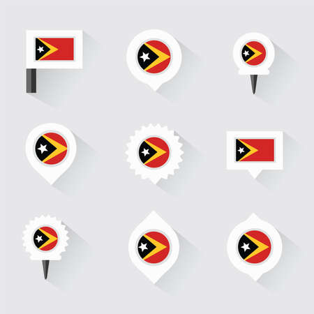 esp: east timor  flag and pins for infographic, and map design