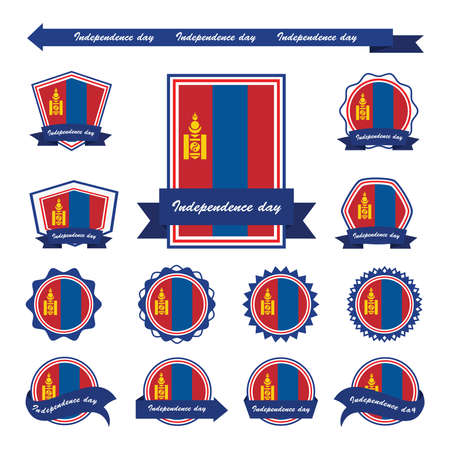 mongolia: mongolia independence day flags infographic design Vectores