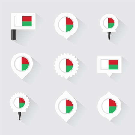 esp: madagascar flag and pins for infographic, and map design Illustration