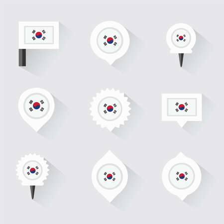 esp: Korea South flag and pins for infographic, and map design Illustration