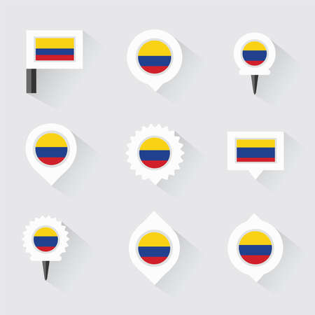 bandera de colombia: colombia flag and pins for infographic, and map design