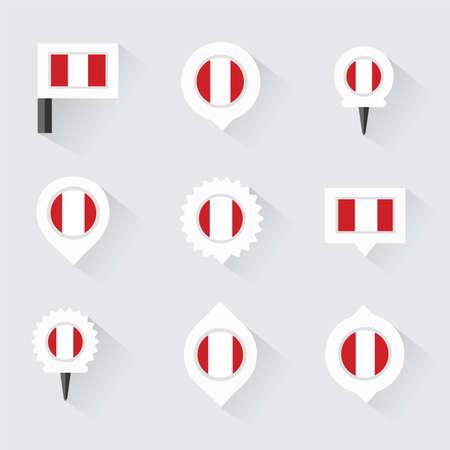 mapa del peru: bandera de Perú y pines para infografía y diseño de mapas