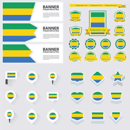 gabon: gabon independence day, infographic, and label Set.