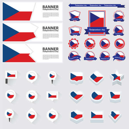the czech republic: czech republic independence day, infographic, and label Set.