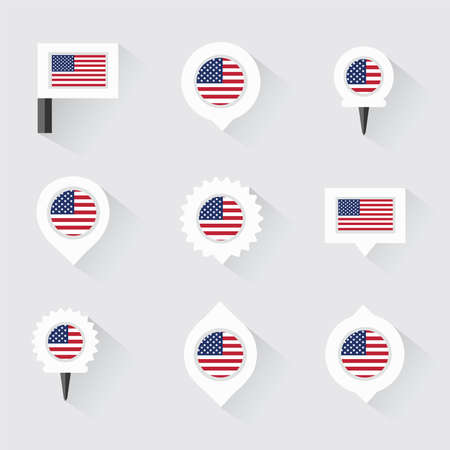 esp: united states of american flag and pins for infographic, and map design