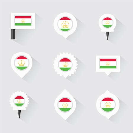 tajikistan: Tajikistan flag and pins for infographic, and map design