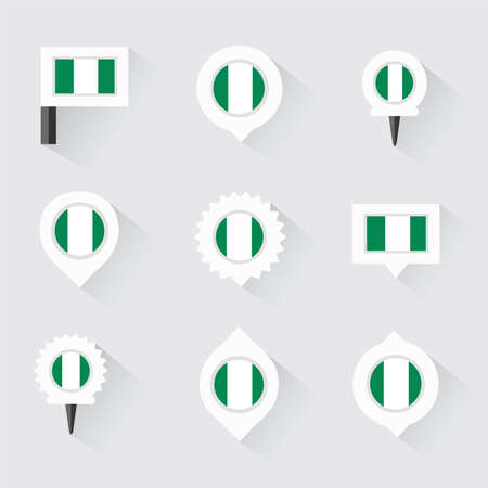 esp: nigeria flag and pins for infographic, and map design