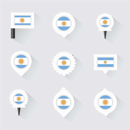 esp: argentina flag and pins for infographic, and map design