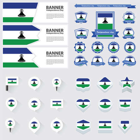 lesotho: Lesotho independence day, infographic, and label Set.
