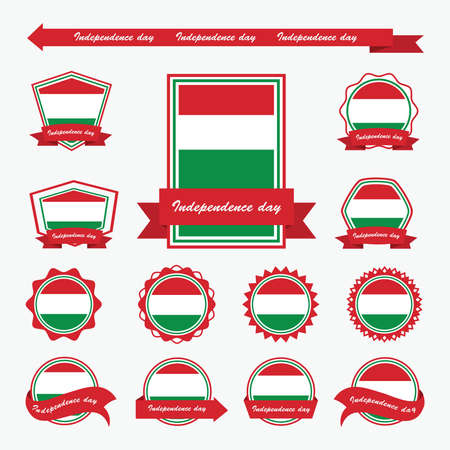 hungary: hungary independence day flags infographic design
