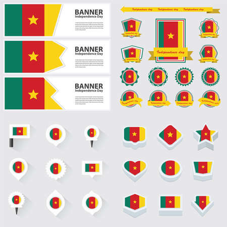 cameroon: cameroon independence day, infographic, and label Set.