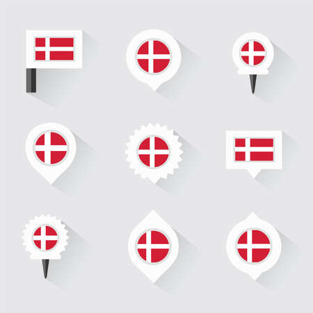 denmark flag: denmark  flag and pins for infographic, and map design