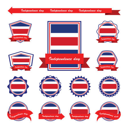 costa rica independence day flags infographic design