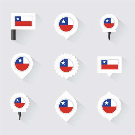 bandera de chile: bandera de Chile y pines para infografía y diseño de mapas Vectores