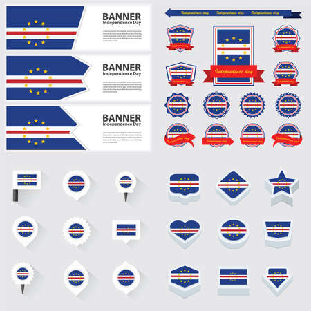 cape verde: cape verde independence day, infographic, and label Set.