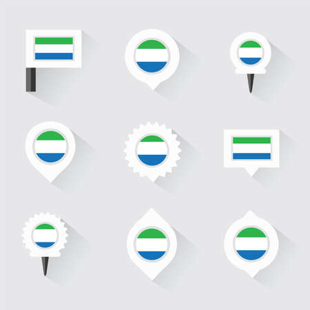 leone: sierra leone flag and pins for infographic, and map design Illustration