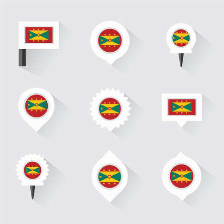 grenada: Grenada flag and pins for infographic, and map design