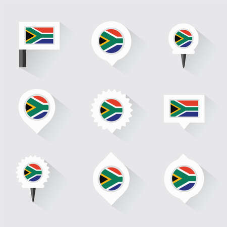 south africa flag: south africa flag and pins for infographic, and map design