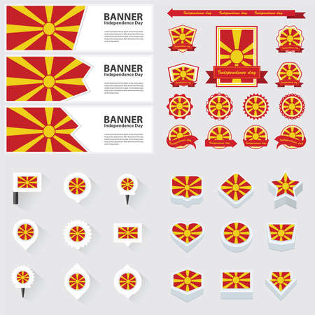 macedonia: macedonia independence day, infographic, and label Set.