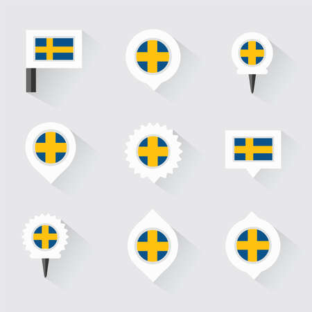 sweden flag: sweden flag and pins for infographic, and map design