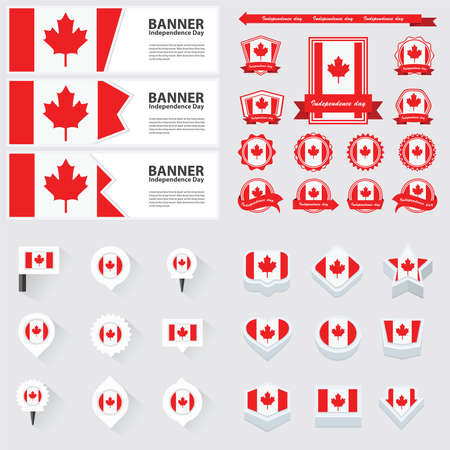 canada independence day, infographic, and label Set.